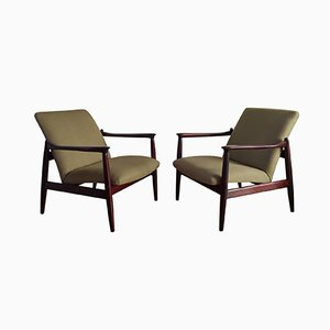Mid-Century Dark Blue Linen and Rosewood Armchairs by Edmund Homa for Gościcińskie Fabryki Mebli, 1960s, Set of 2