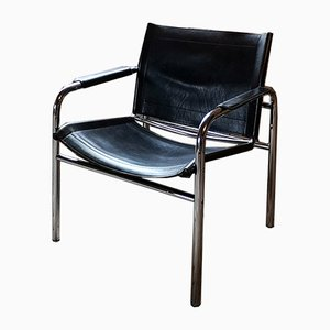 Swedish Leather and Tubular Steel Lounge Chairs by Tord Bjorklund for Ikea, 1980s, Set of 2
