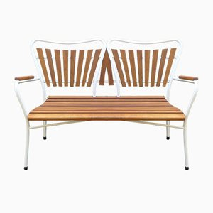 Mid-Century Danish Teak and Tubular Steel Garden Bench from Daneline