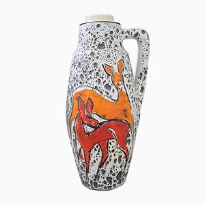 Lámpara de pie Fat Lava con ciervos de Scheurich Keramik, años 60