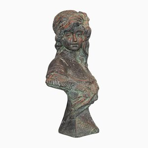 Vintage Art Nouveau Style French Bronzed Stone Female Bust Statue