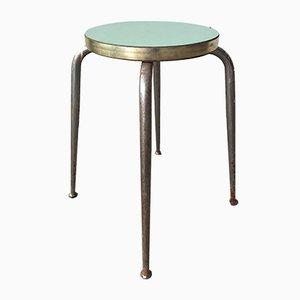 Vintage Hocker aus Stahl & Grünem Schichtholz, 2er Set