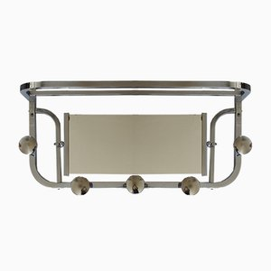 Art Deco French Chrome Coat Rack with Mirror, 1930s