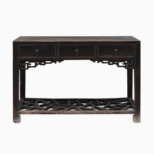 Chinese Three Drawer Console with Dragon Carvings