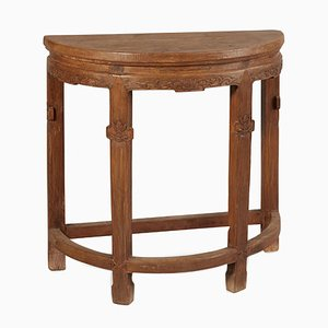 Antique Half Moon Elm Table