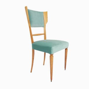 Italian Lemon Wood and Celadon Velvet Dining Chair by Silvio Cavatorta, 1950s