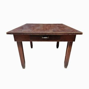 Italian Square Pinewood Kitchen Table, 1940s