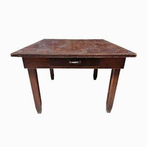Italian Square Pinewood Kitchen Table, 1940s