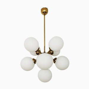 Opaline Glass Sputnik Chandelier, 1960s