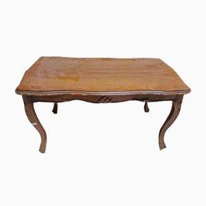 Mesa de centro italiana de madera con patas curvadas, años 60