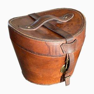 Caja para sombreros antigua de cuero con sujetadores de latón, década de 1900