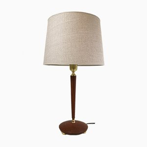 Mid-Century Swedish Teak and Brass Table Lamp from Göteborgs Armaturhandverk, 1950s