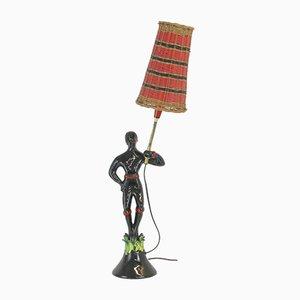 Glasierte Keramik Tischlampe von Gueden Colette für Primavera, 1940er