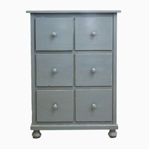 Antique Swedish Dove Blue Drawer Cabinet