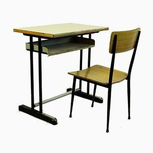 Italienischer Industrieller Mid-Century Schreibtisch und Stuhl Set, 1950er