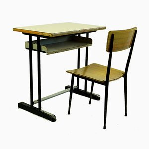 Mid-Century Industrial Italian Childrens Desk and Chair Set, 1950s