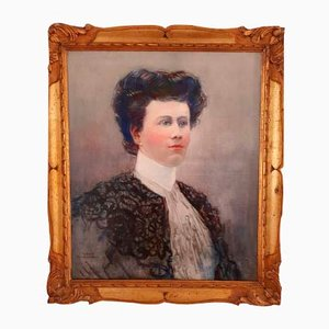 Antique Belgian Female Portrait Oil Painting by Franz Gailliard