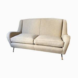 Vintage Italian Sofa with Padded Seats and Brass Legs, 1950s
