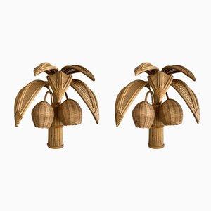 Französische Vintage Rattan Palmen Wandlampen, 2er Set