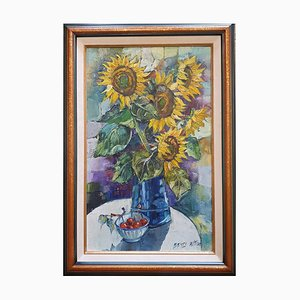 Ramo de girasol sobre lienzo de Betty Wittwe, años 80