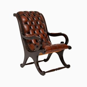 Regency Style Leather and Mahogany Armchair, 1930s