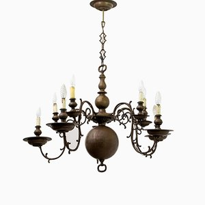 Baroque Italian Bronze 5-Arm Chandelier, 1700s