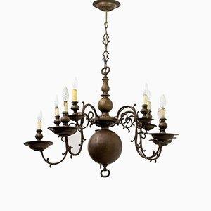 Italienischer Barocker Italienischer Kronleuchter mit Fünf Leuchten aus Bronze, 1700er