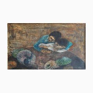 Dipinto ad olio Mid-Century padre e suoi figli di Eva Fischer
