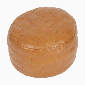 French Leather Pouf, 1980s