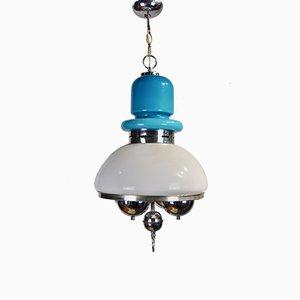 Lampada da soffitto in vetro blu e bianco, anni '60