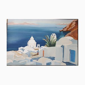 Santorini Aquarell von Janick Lederlé
