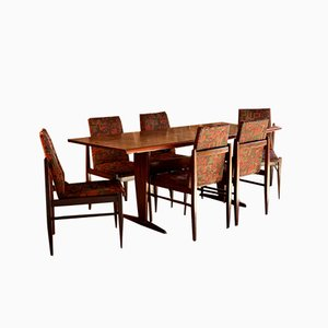 Jacaranda Rosewood Patchwork Dining Table & Chairs Set from Guiseppe Scapinelli 1959, Set of 7