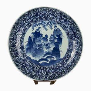 Dekorativer antiker Teller mit portugiesischen Händlern in Japan