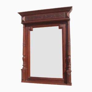 Antiker abgeschrägter Spiegel aus Nussholz, 1900er