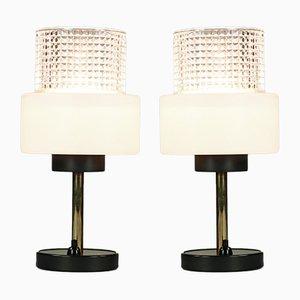 Lampes de Bureau Vintage en Laiton et Verre, 1960s, Set de 2