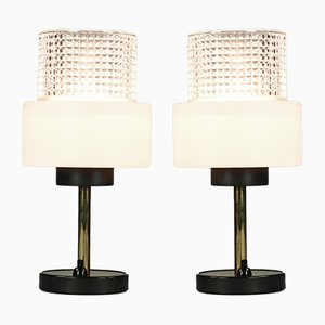 Vintage Brass and Glass Table Lamps, 1960s, Set of 2