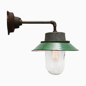 Vintage Industrial Green Enamel and Clear Glass Sconce