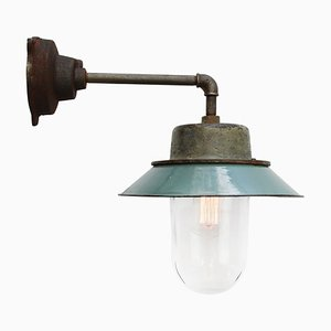 Vintage Industrial Petrol Enamel and Clear Glass Sconce