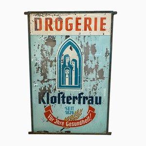 Insegna pubblicitaria vintage in vetro, anni '20