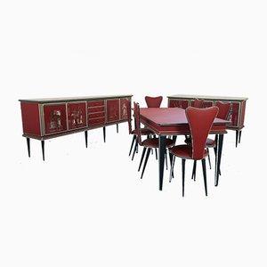 Tavolo e sedie da pranzo vintage di Umberto Mascagni, anni '50, set di 9