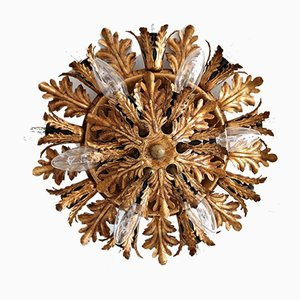 Italian Gold Plated Metal Ceiling Lamp from Banci, 1950s