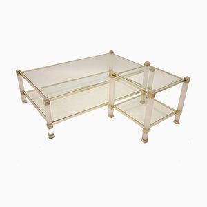 Mesa de centro vintage con mesa de centro de cristal hielo y esquinas doradas de Pierre Vandel