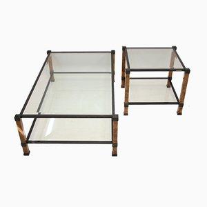 Table Basse et Table d'Appoint Vintage Noire et Marbrée par Pierre Vandel