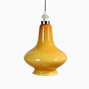 Lampada da soffitto in vetro giallo, anni '60