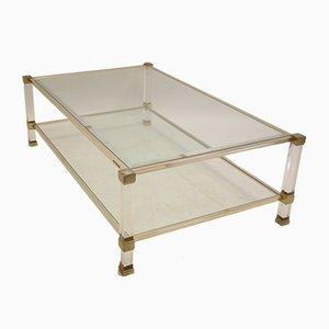 Table Basse Vintage avec Angles Dorés par Pierre Vandel