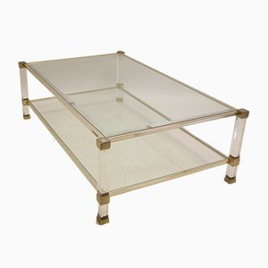 Vintage Coffee Table with Gold Corners by Pierre Vandel