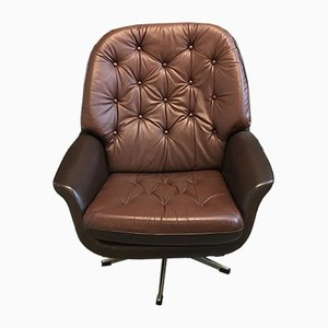 Vintage Brown Leather Lounge Chair by H. W. Klein for Bramin, 1970s