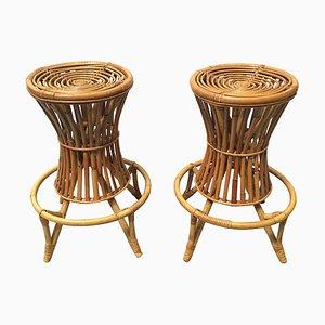 Mid-Century Bambus Hocker, 1960er, 2er Set