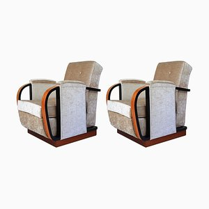 Italian Art Deco Beige Fabric and Black Details Armchairs, 1930s, Set of 2