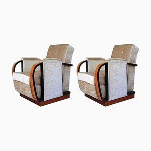 Italienischer Art Deco Beiger Stoff und Schwarze Details Sessel, 1930er, 2er Set